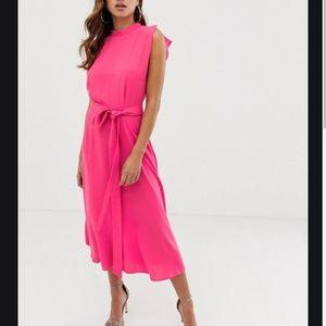 ASOS DESIGN split cap sleeve high neck midi dress